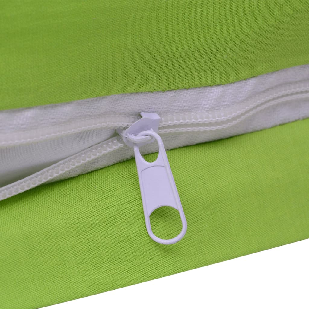 la boutique en ligne vidaxl 2 pi ces housse de couette en coton vert 135x200 80x80 cm. Black Bedroom Furniture Sets. Home Design Ideas