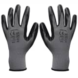 vidaXL Work Gloves Nitrile 24 Pairs Grey and Black Size 8/M