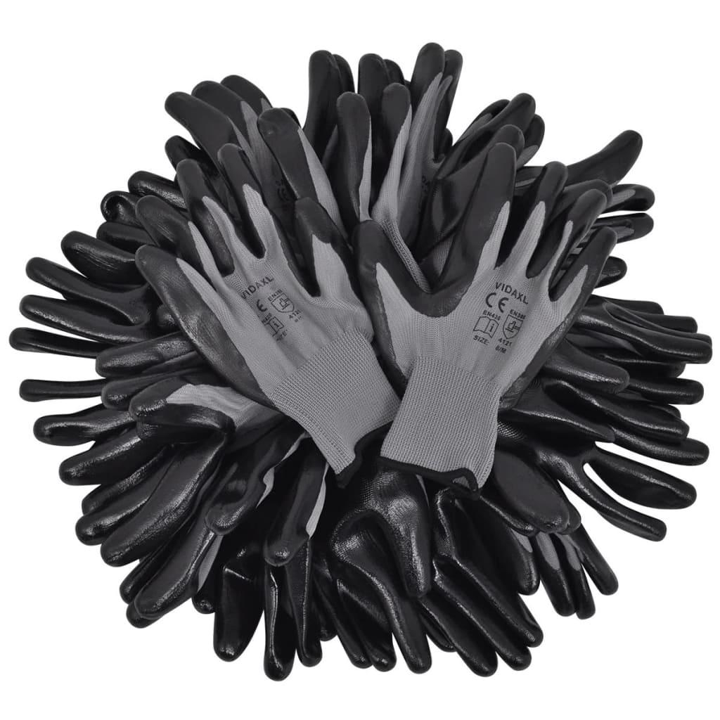vidaxl arbeitshandschuhe nitril grau und schwarz gr 10 xl g nstig kaufen. Black Bedroom Furniture Sets. Home Design Ideas