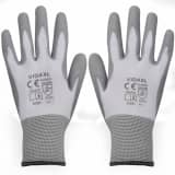 vidaXL Work Gloves PU 24 Pairs White and Grey Size 9/L