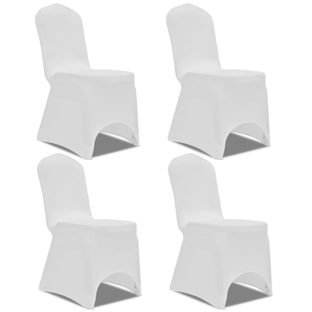 Acheter vidaxl housse de chaise extensible 4 pcs blanc pas for Housse de chaise extensible