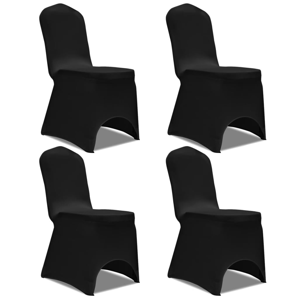 acheter vidaxl housse de chaise extensible 4 pcs noir pas cher. Black Bedroom Furniture Sets. Home Design Ideas