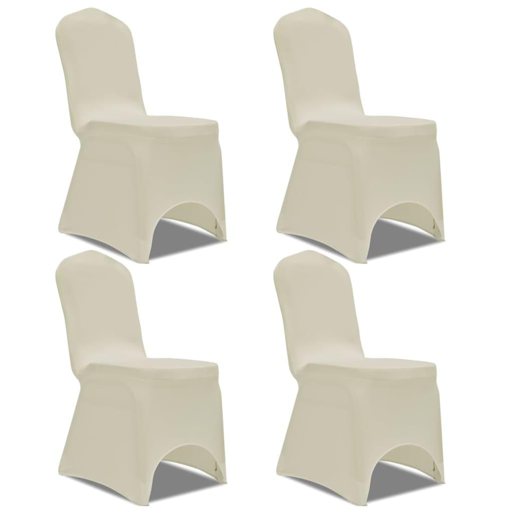 vidaXL 4 db nyújtható szék huzat krém