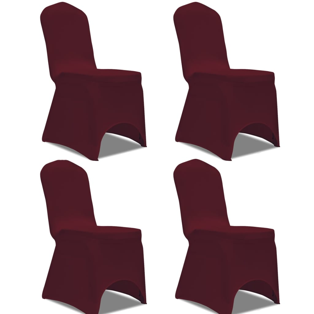 la boutique en ligne vidaxl housse de chaise extensible 4 pcs bordeaux. Black Bedroom Furniture Sets. Home Design Ideas