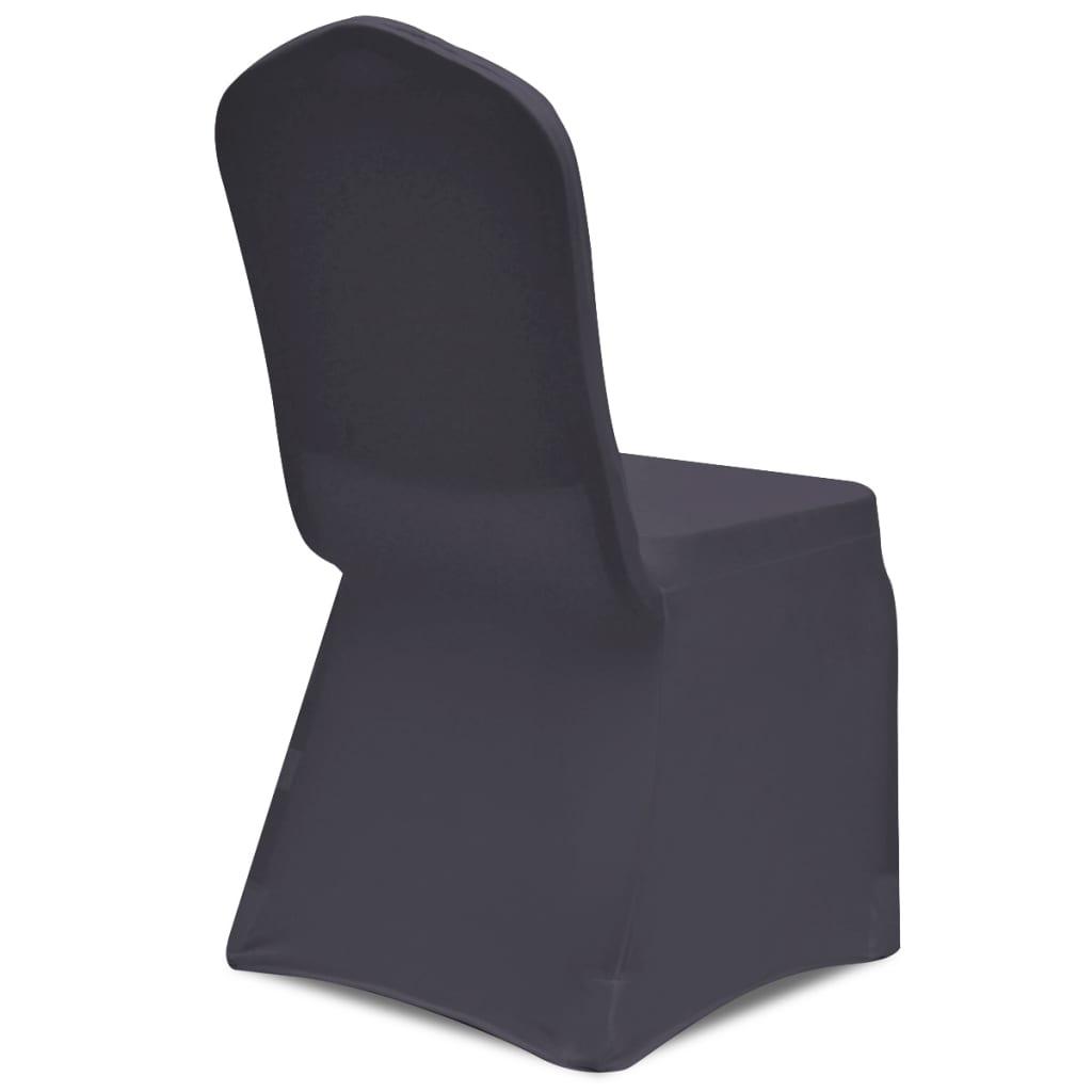 acheter vidaxl housse de chaise extensible 6 pcs anthracite pas cher. Black Bedroom Furniture Sets. Home Design Ideas