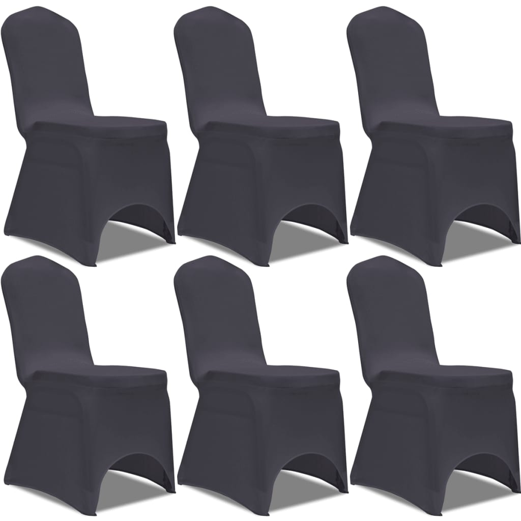 acheter vidaxl housse de chaise extensible 6 pcs anthracite pas cher. Black Bedroom Furniture Sets. Home Design Ideas