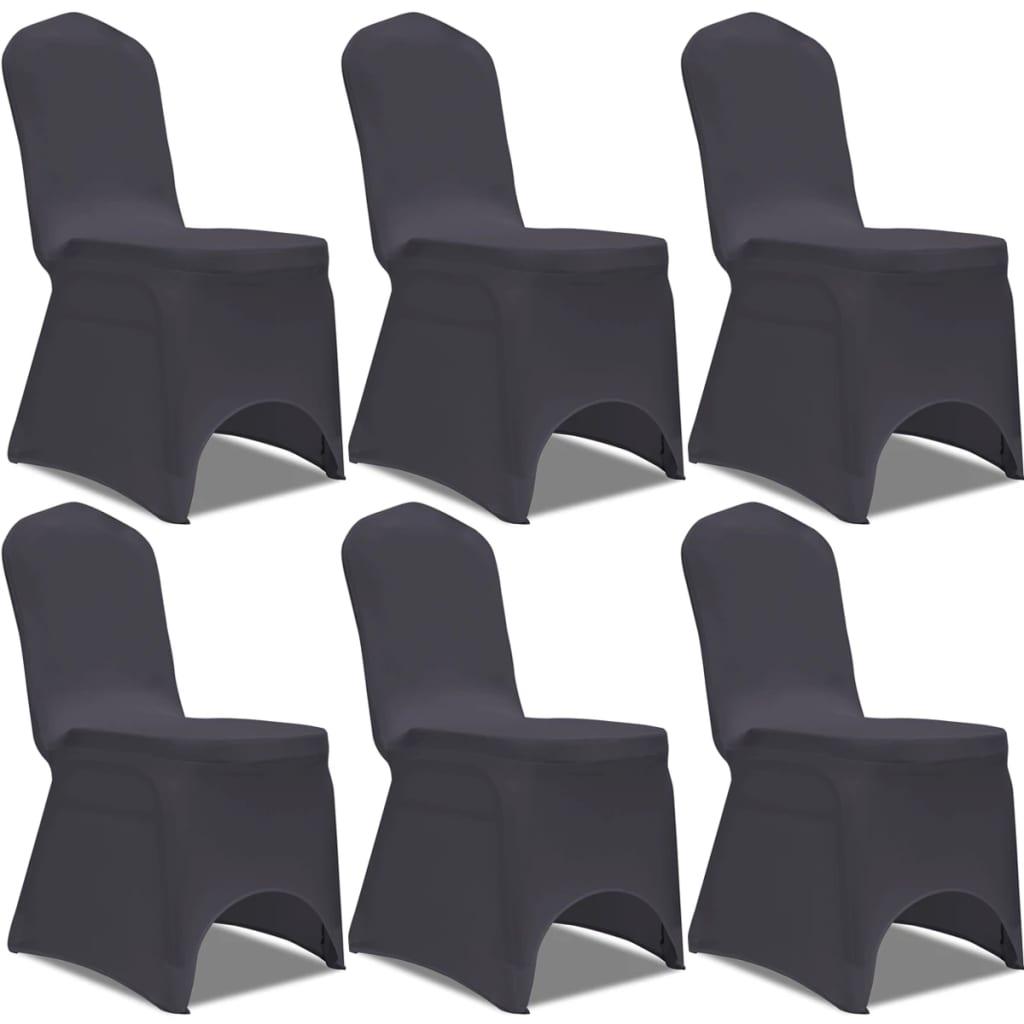 vidaXL 6 db nyújtható szék huzat antracit