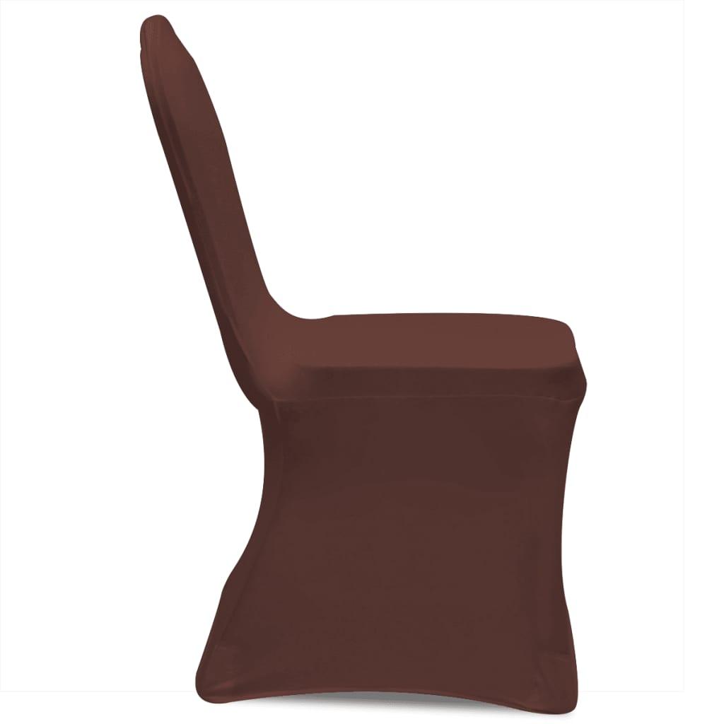 Acheter vidaxl housse de chaise extensible 6 pcs marron - Housse de chaise extensible ...