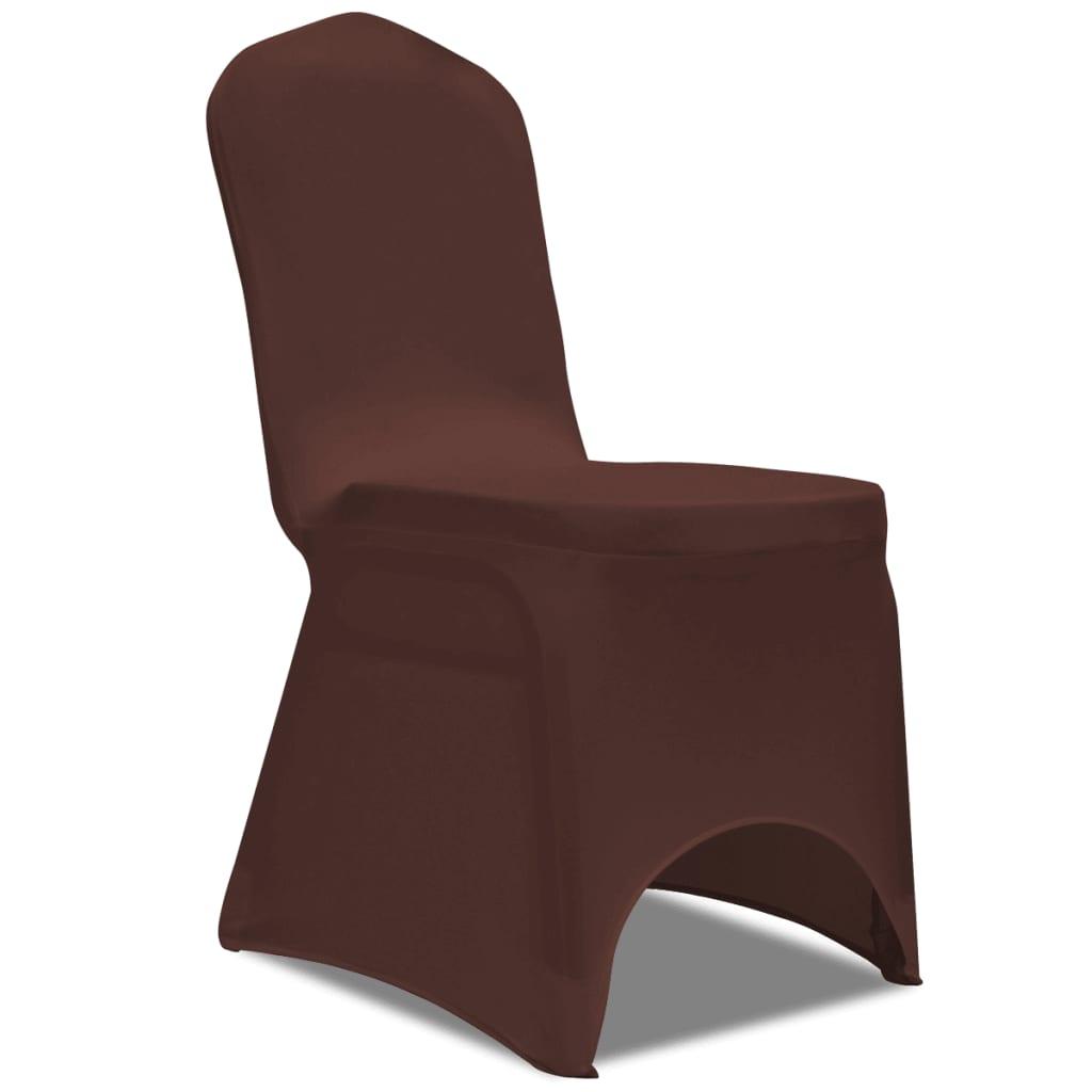 acheter vidaxl housse de chaise extensible 6 pcs marron pas cher. Black Bedroom Furniture Sets. Home Design Ideas