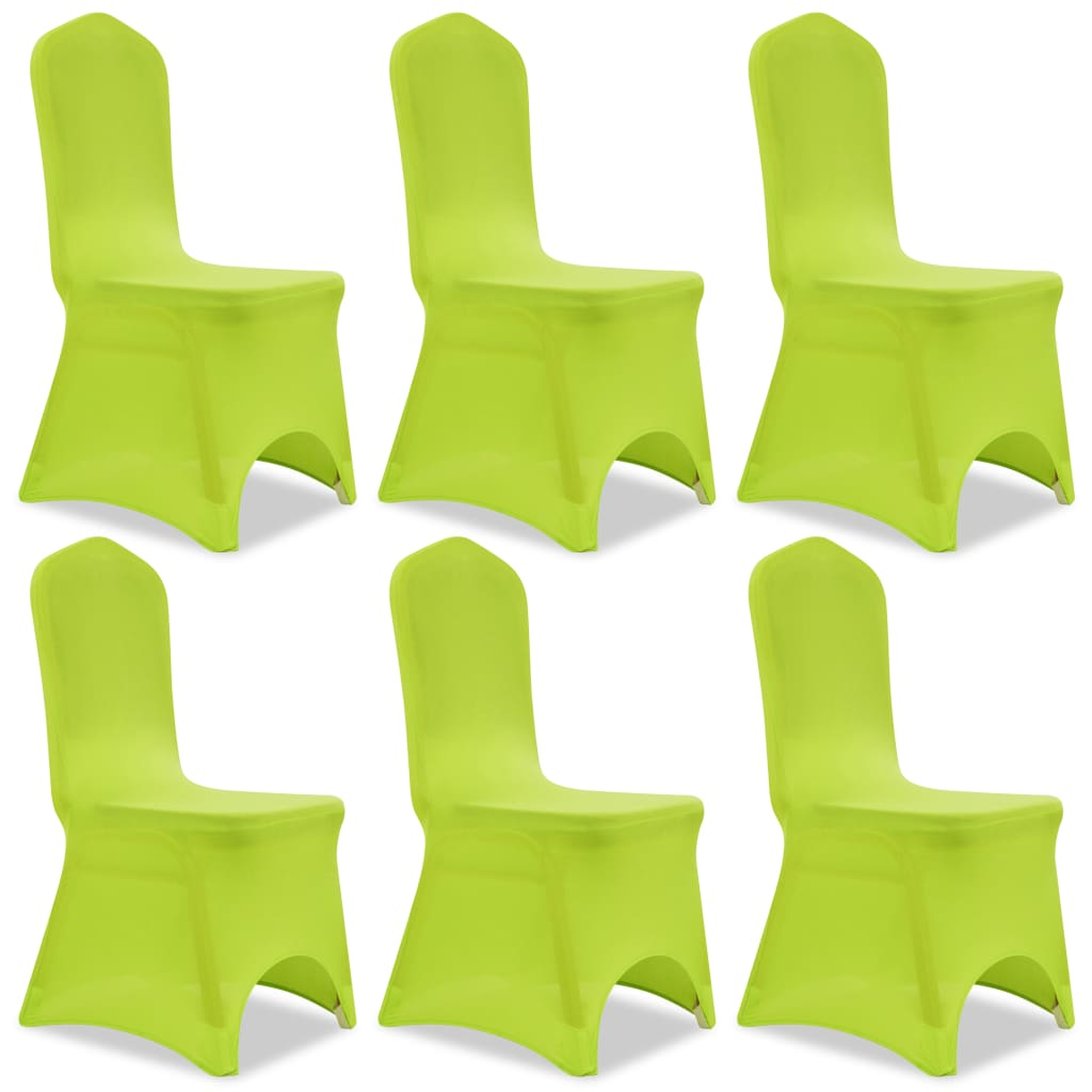 Acheter vidaxl housse de chaise extensible 6 pcs vert pas - Housse de chaise extensible pas cher ...
