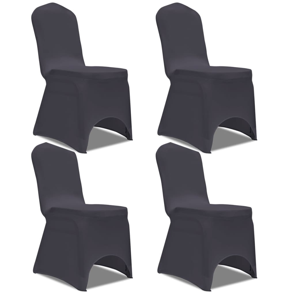 acheter vidaxl housse de chaise extensible 4 pcs anthracite pas cher. Black Bedroom Furniture Sets. Home Design Ideas