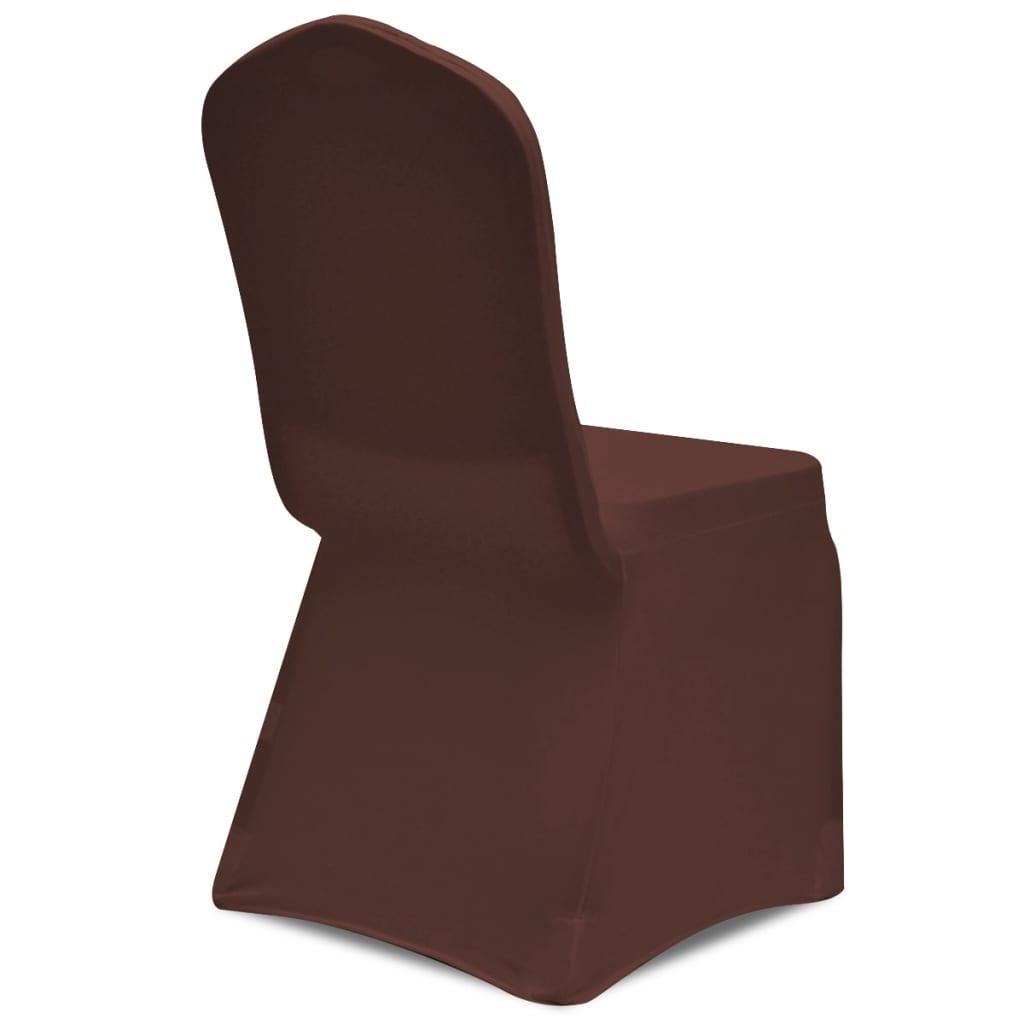 Acheter vidaxl housse de chaise extensible 4 pcs marron - Housse de chaise extensible pas cher ...