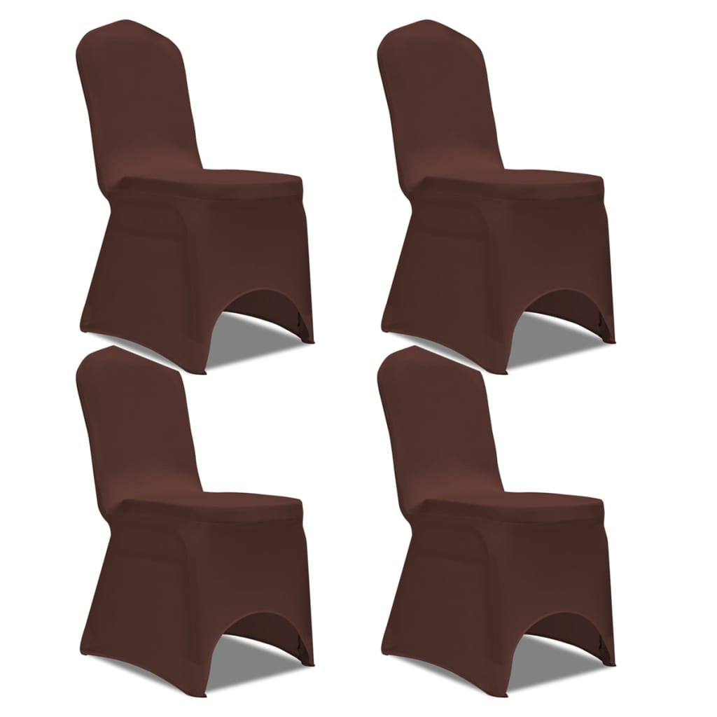 acheter vidaxl housse de chaise extensible 4 pcs marron pas cher. Black Bedroom Furniture Sets. Home Design Ideas