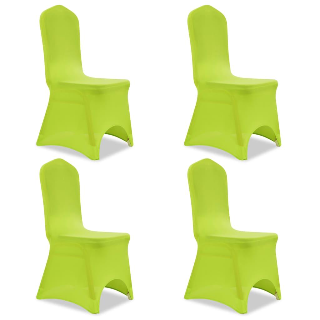 Acheter vidaxl housse de chaise extensible 4 pcs vert pas for Housse de chaise extensible