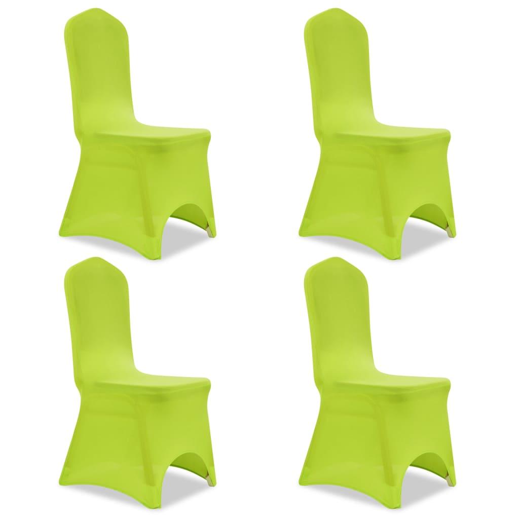 vidaXL 4 db nyújtható szék huzat zöld