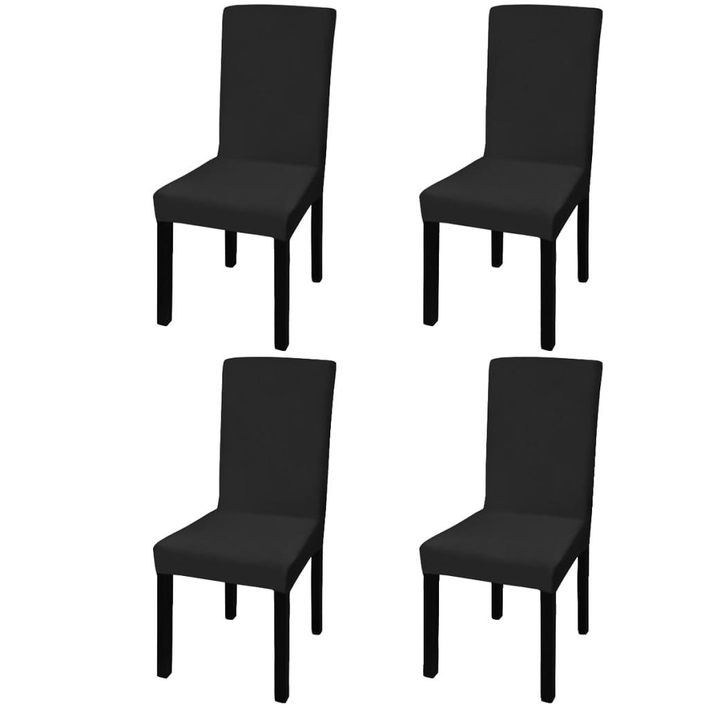vidaXL 4 db nyujtható szék huzat fekete
