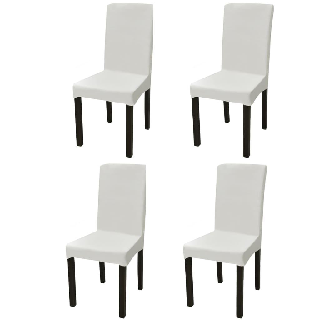 acheter vidaxl housse de chaise droite extensible 4 pcs cr me pas cher. Black Bedroom Furniture Sets. Home Design Ideas