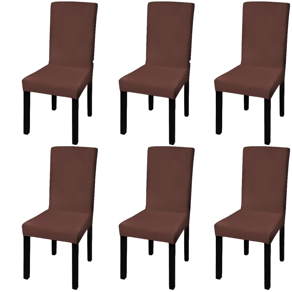 acheter vidaxl housse de chaise droite extensible 6 pcs. Black Bedroom Furniture Sets. Home Design Ideas