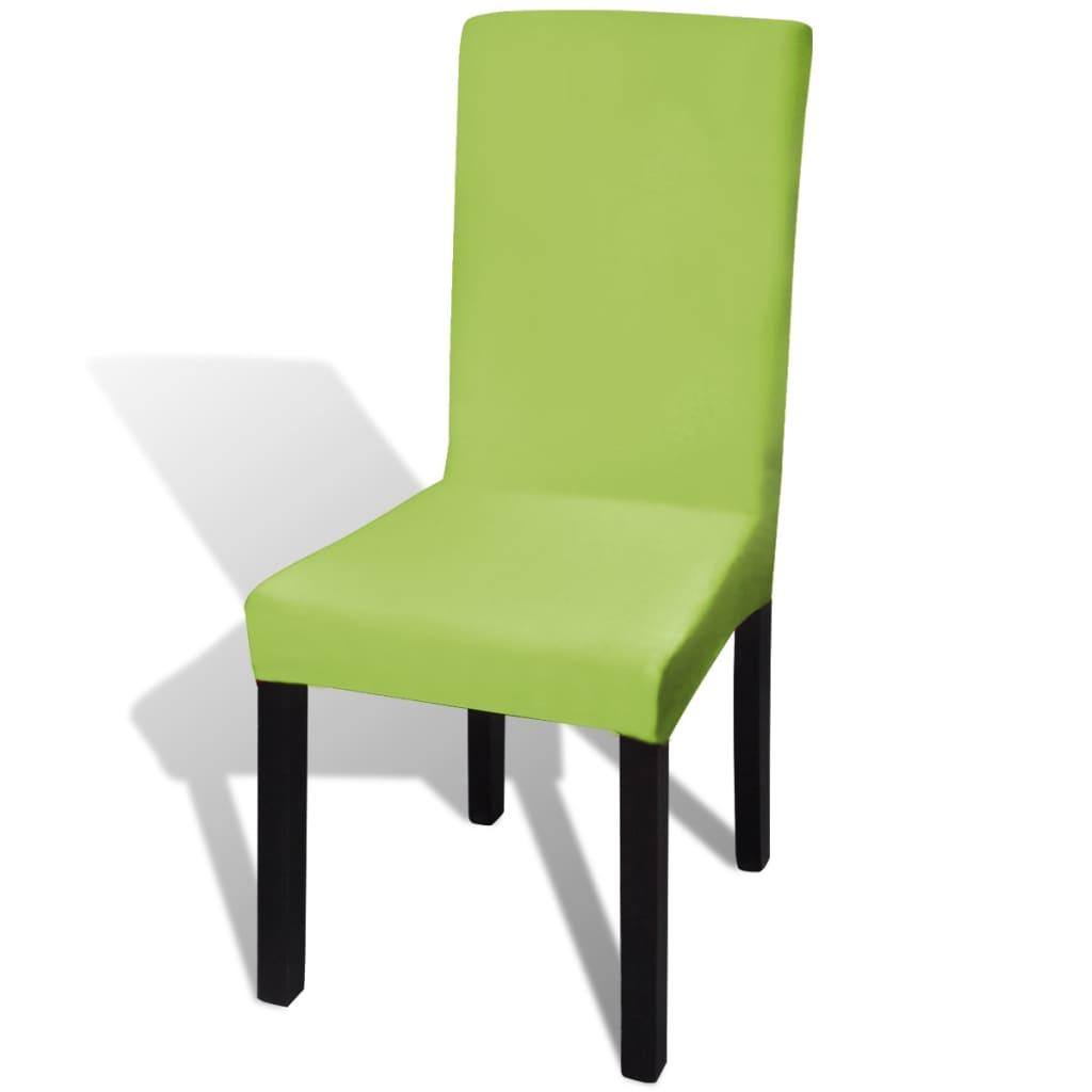 vidaxl housse de chaise droite extensible 6 pcs vert. Black Bedroom Furniture Sets. Home Design Ideas