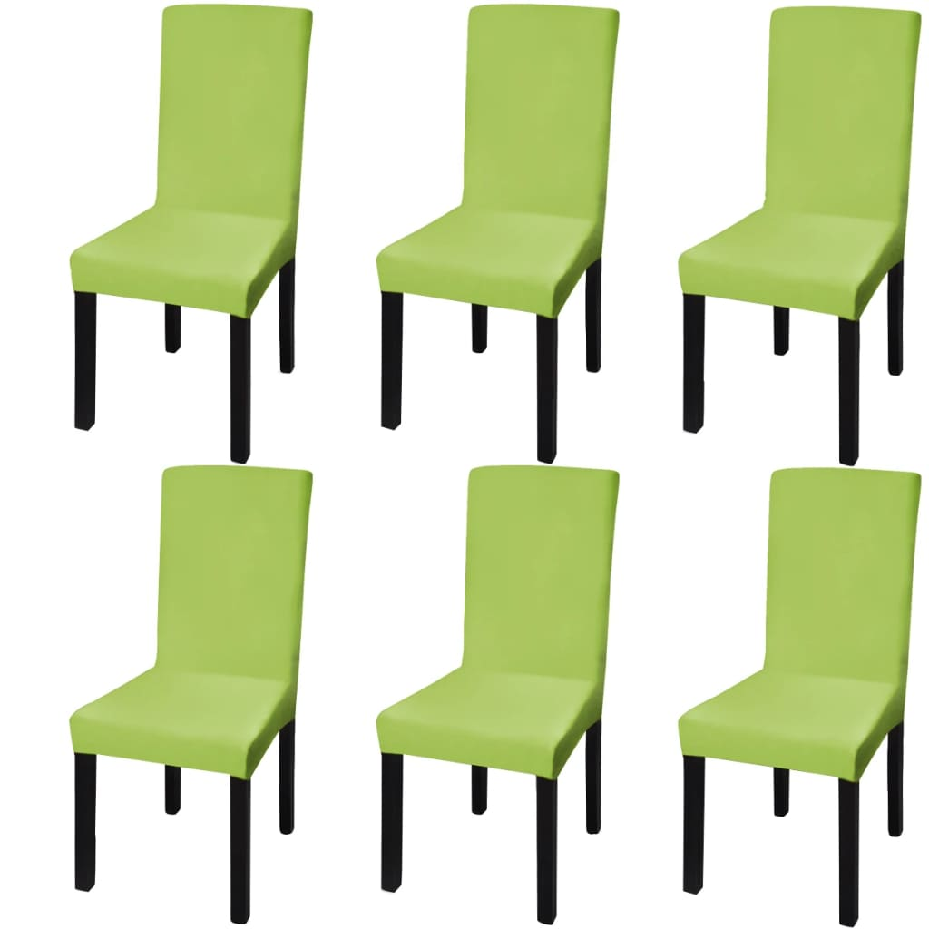 acheter vidaxl housse de chaise droite extensible 6 pcs vert pas cher. Black Bedroom Furniture Sets. Home Design Ideas