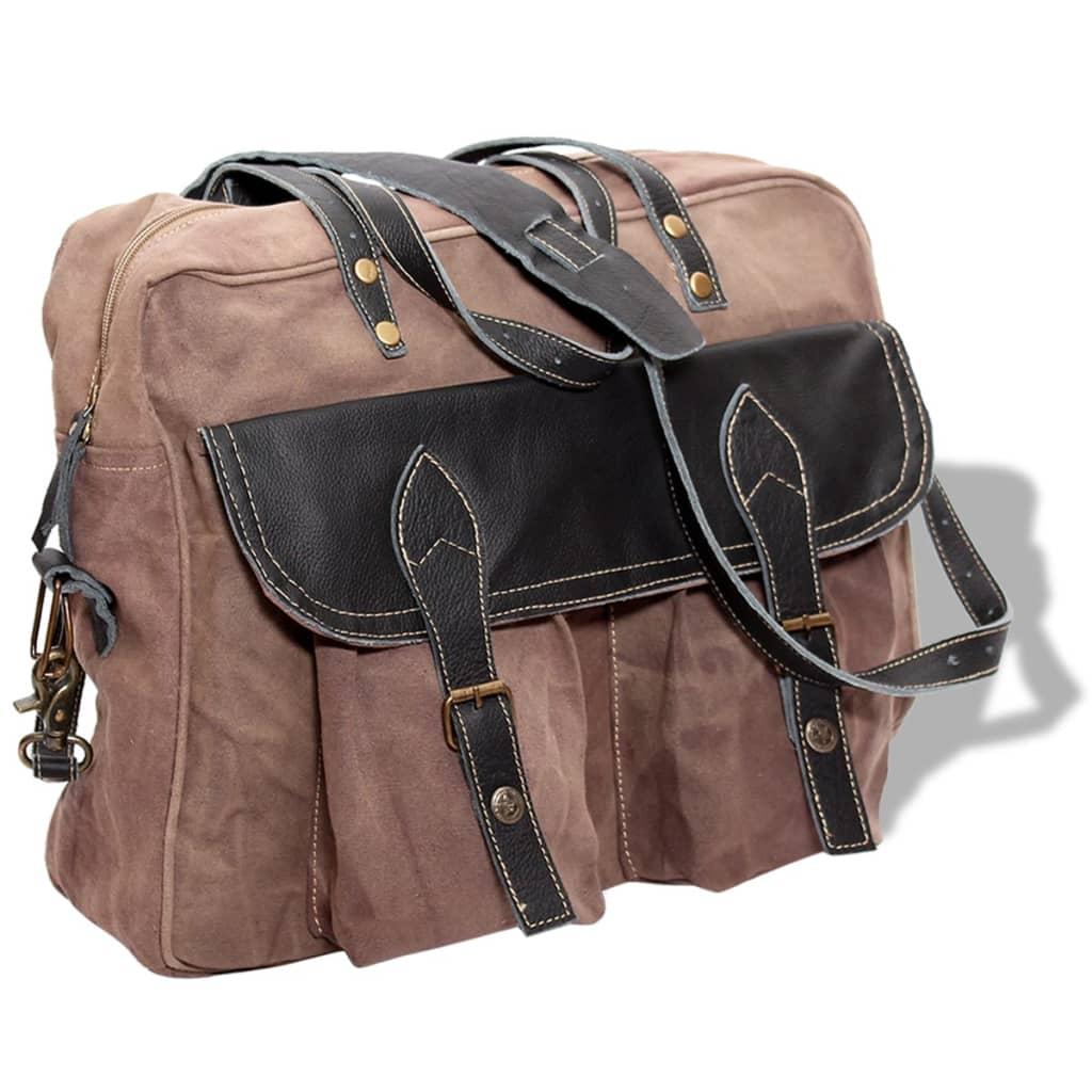 vidaXL Barna vászon rendes bőr kézi táska