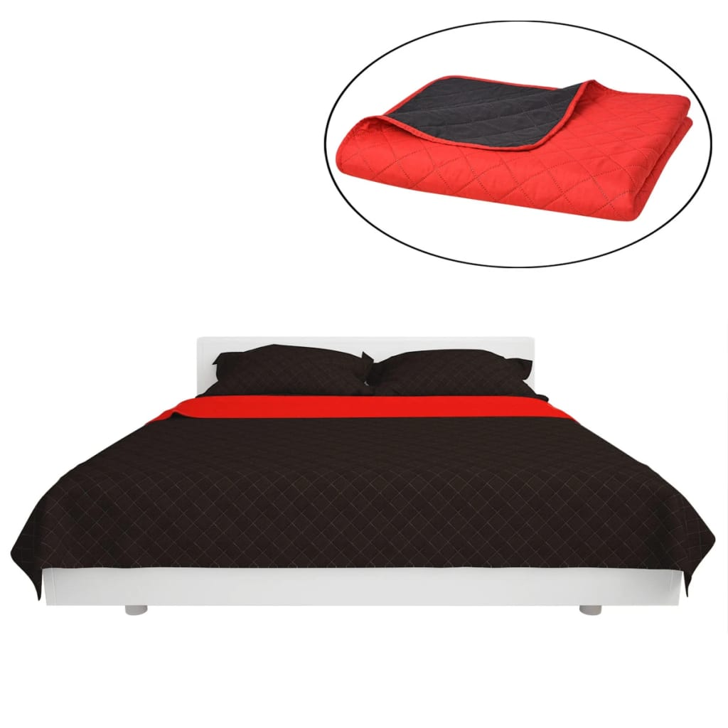 vidaxl gesteppte wende tagesdecke rot and schwarz 170x210. Black Bedroom Furniture Sets. Home Design Ideas