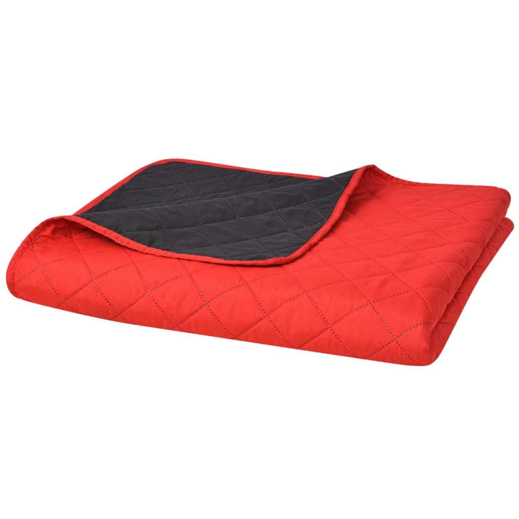 vidaXL Zweiseitige Steppdecke Tagesdecke Rot/Schwarz 220x240cm