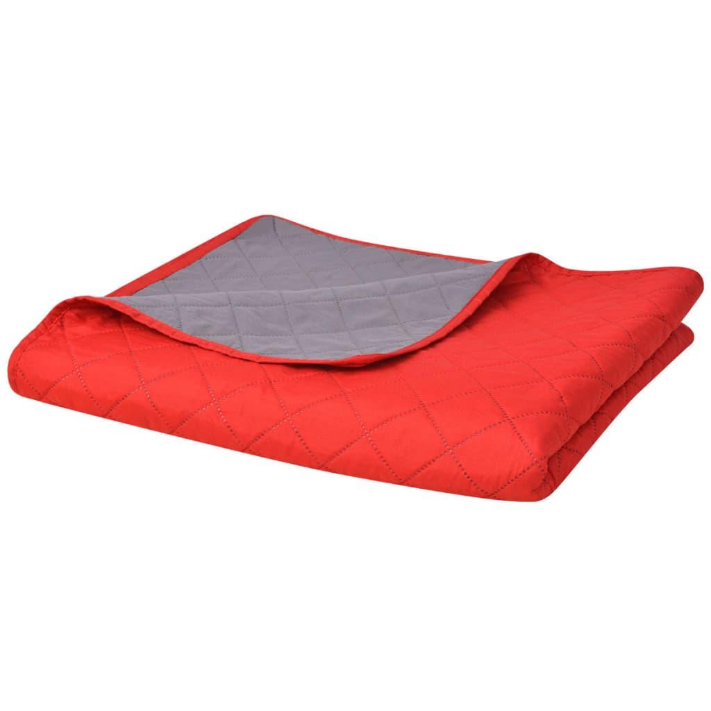 vidaXL Zweiseitige Steppdecke Tagesdecke Rot/Grau 220x240cm