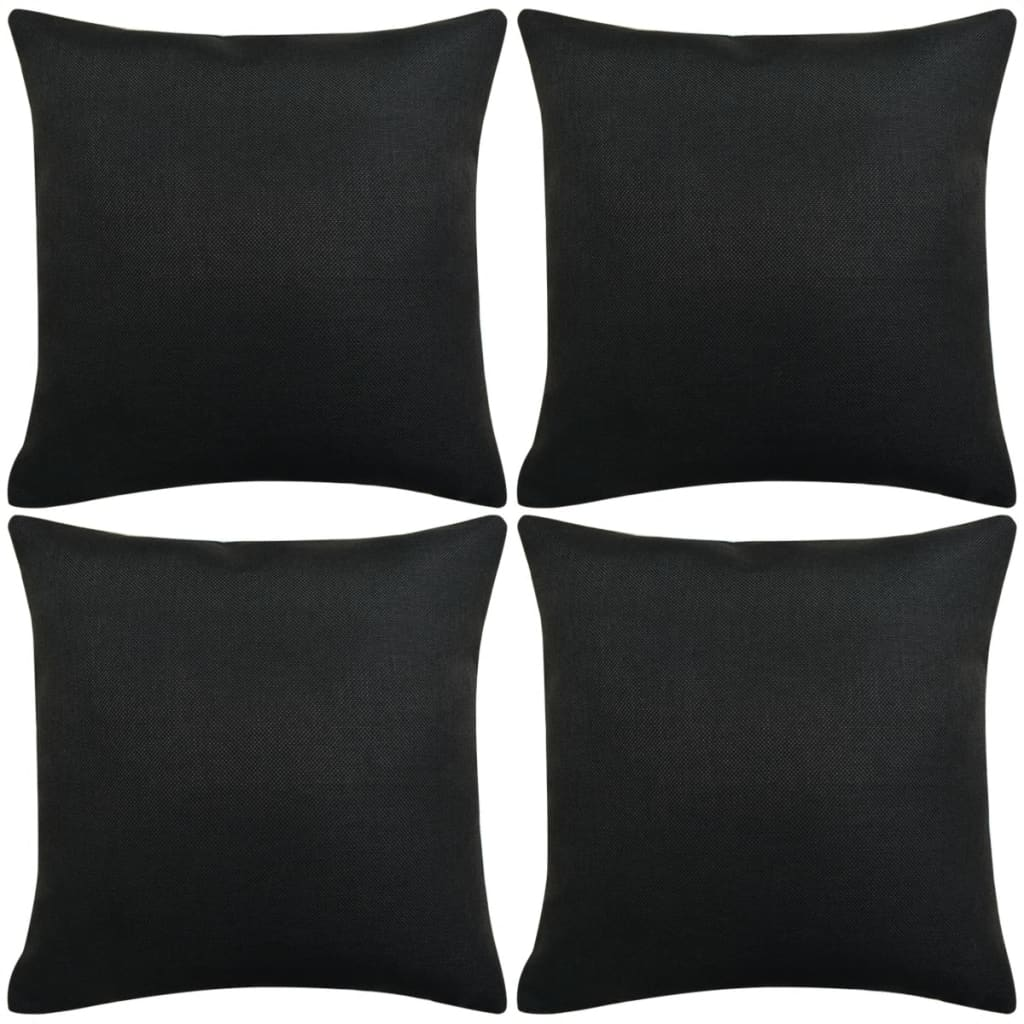 acheter vidaxl housse de coussin 4 pcs lin noir 50 x 50 cm pas cher. Black Bedroom Furniture Sets. Home Design Ideas