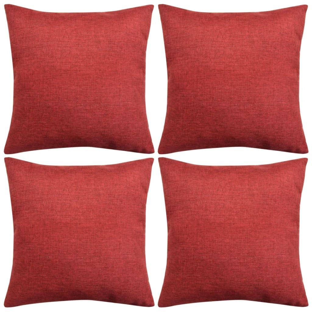 der vidaxl kissenbez ge 4 stk leinenoptik burgunderrot 40x40 cm online shop. Black Bedroom Furniture Sets. Home Design Ideas