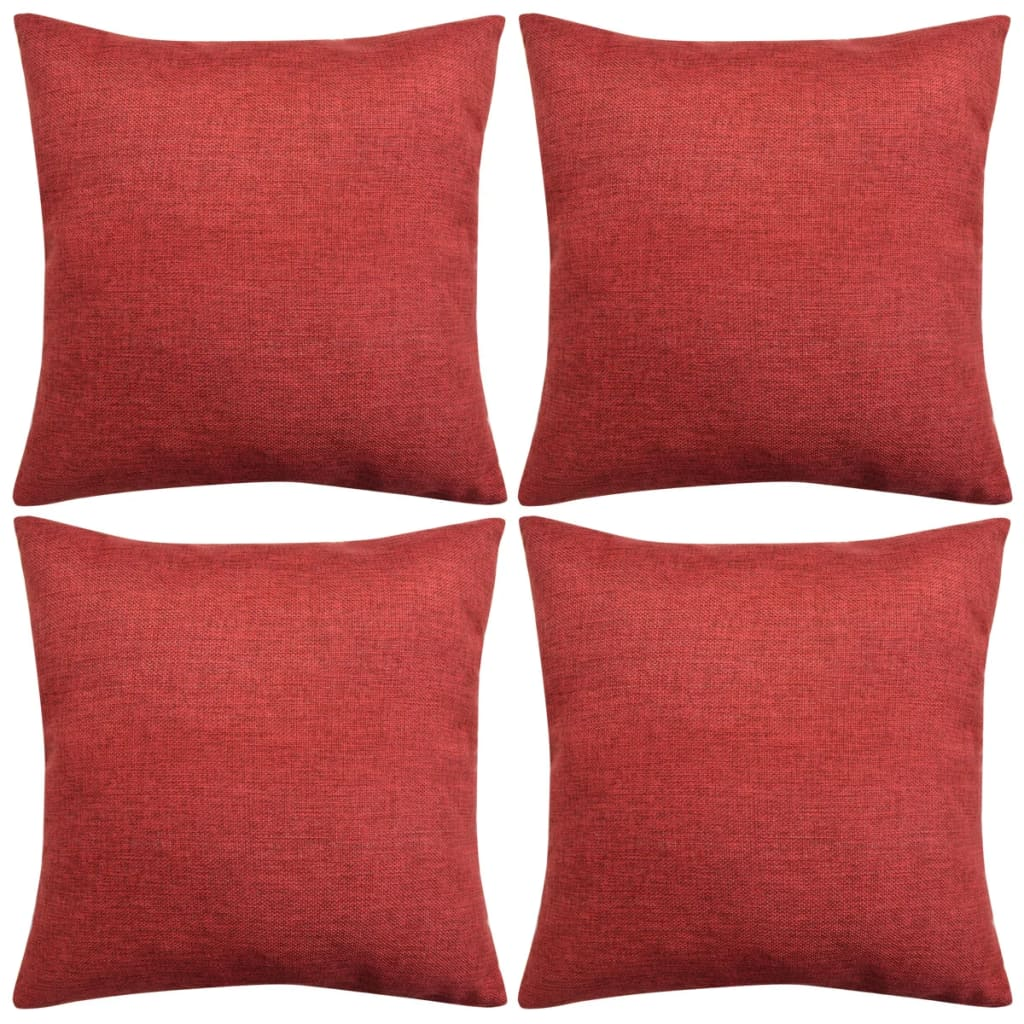 vidaXL 4 db 80x80 cm burgundi vörös vászon jellegű párnahuzat