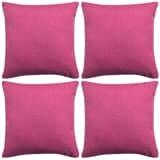 vidaXL Povlaky na polštářek 4 ks, se vzhledem lnu růžový 50x50 cm