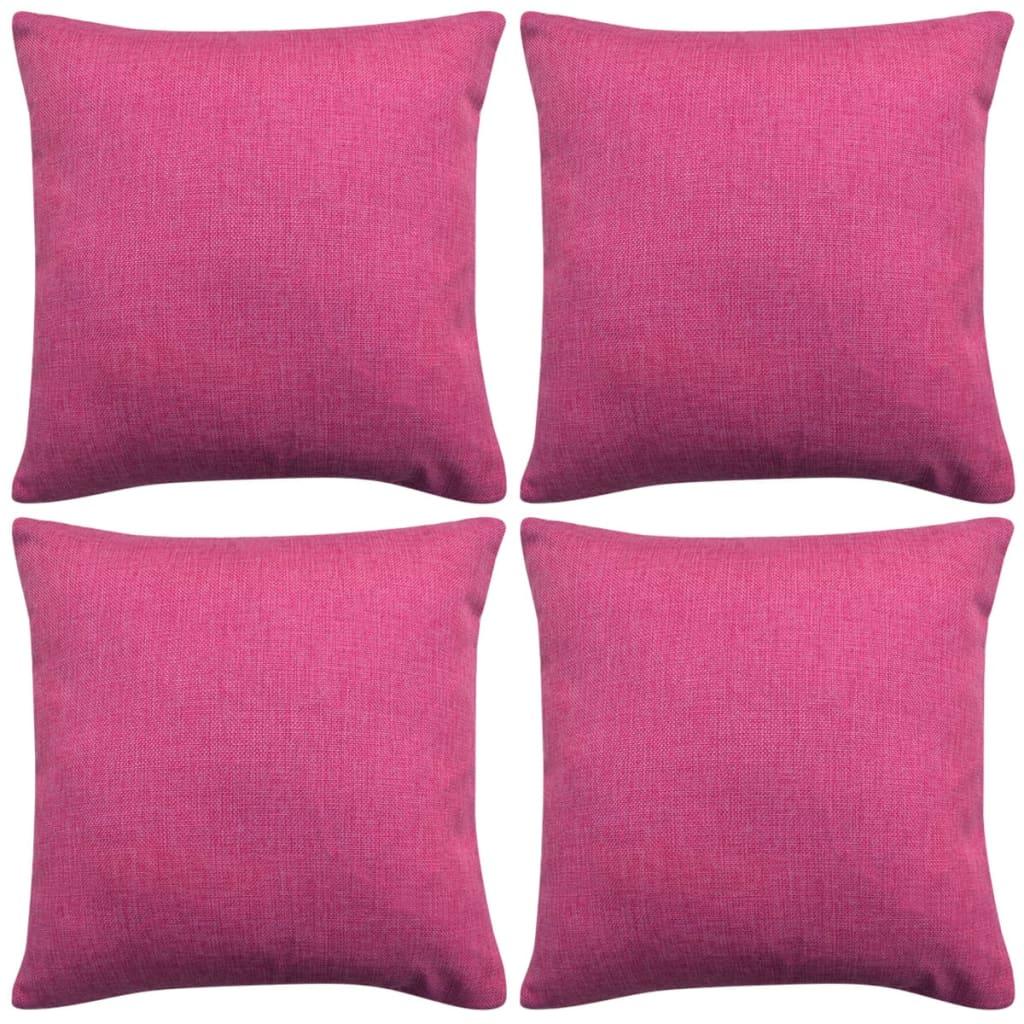 vidaXL 4 db 80x80 cm rózsaszín vászon jellegű párnahuzat