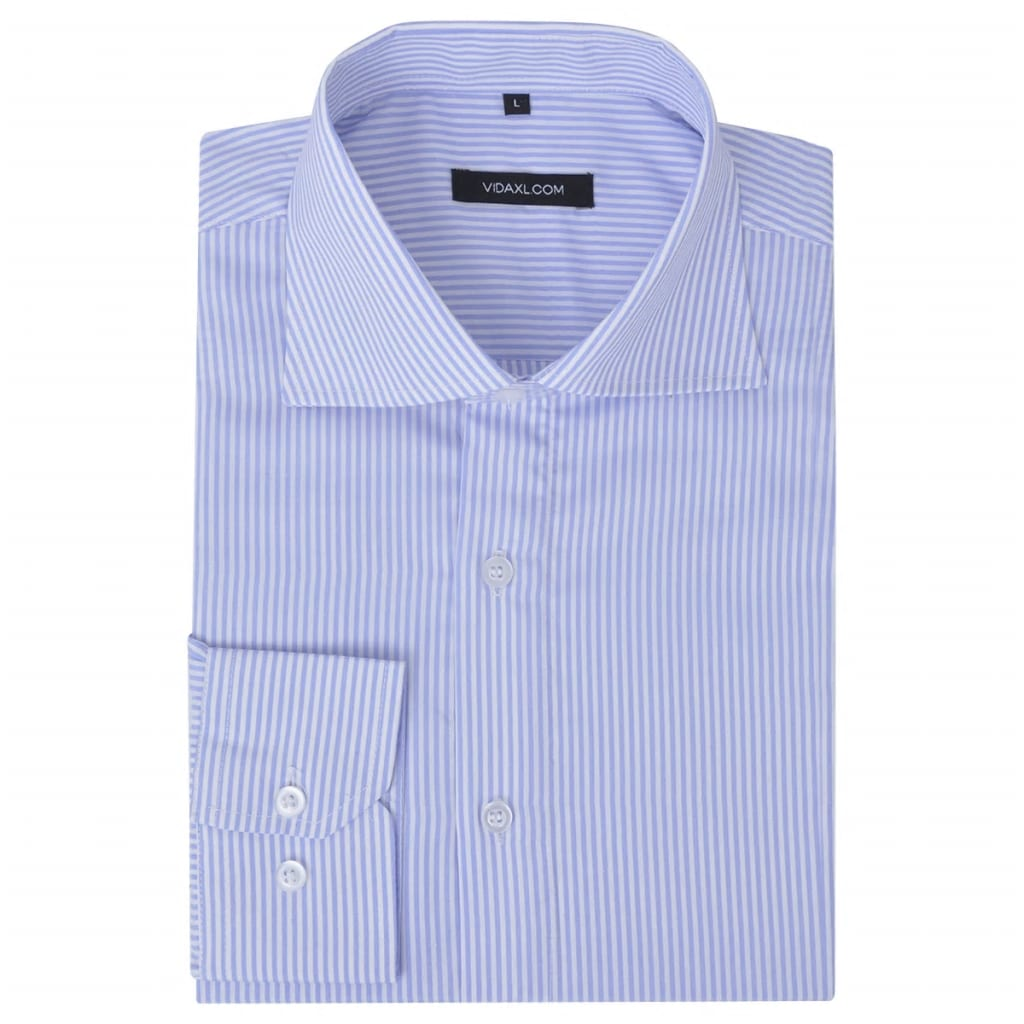 vidaXL Csíkos Fehér és világoskék M méretű üzleti férfi ing