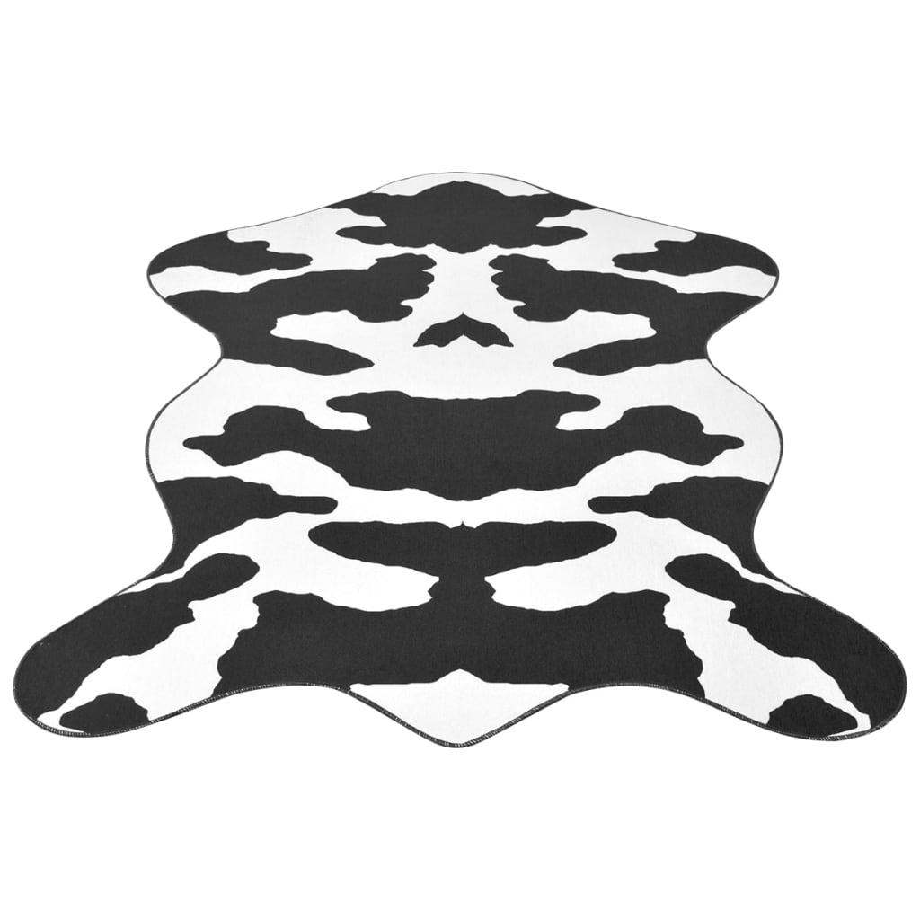 vidaXL Fekete, formázott szőnyeg tehénbőr mintázattal 150x220 cm