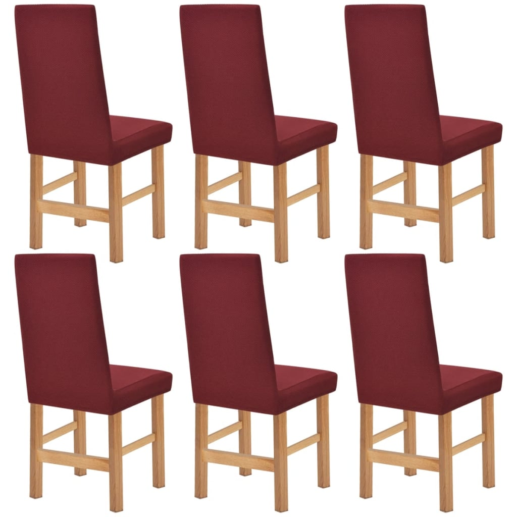 acheter vidaxl housse extensible de chaise 6 pi ces piqu bordeaux pas cher. Black Bedroom Furniture Sets. Home Design Ideas