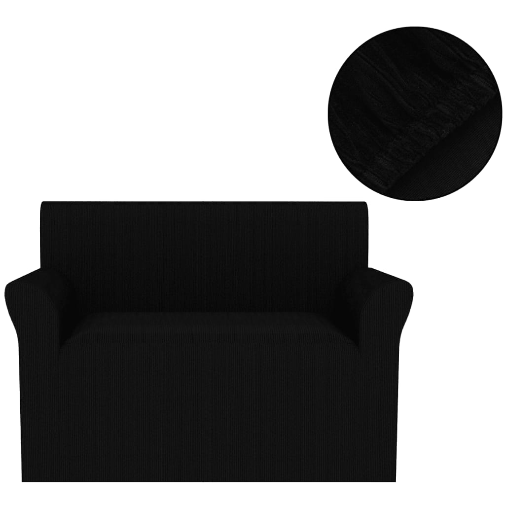 acheter vidaxl housse de canap extensible larges rayures noir pas cher. Black Bedroom Furniture Sets. Home Design Ideas