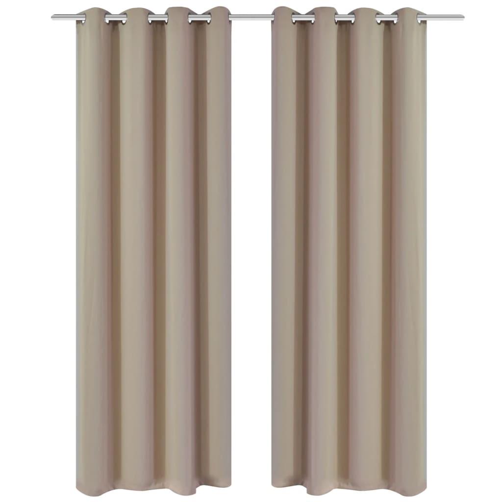 vidaXL 2 db krémszínű sötétítőfüggöny fém függönykarikákkal 135 x 175 cm