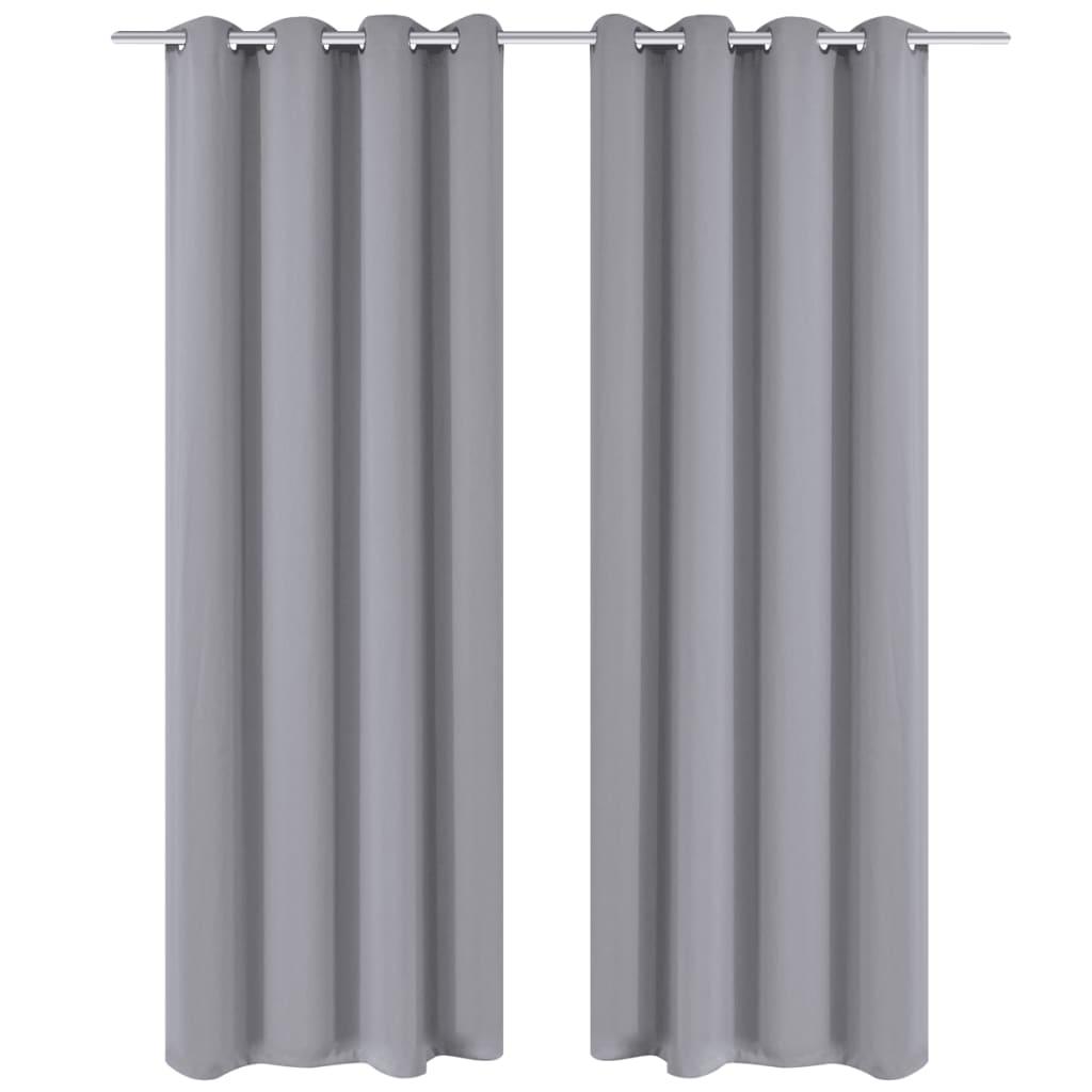 vidaXL 2 db szürke sötétítőfüggöny fém függönykarikákkal 135 x 175 cm