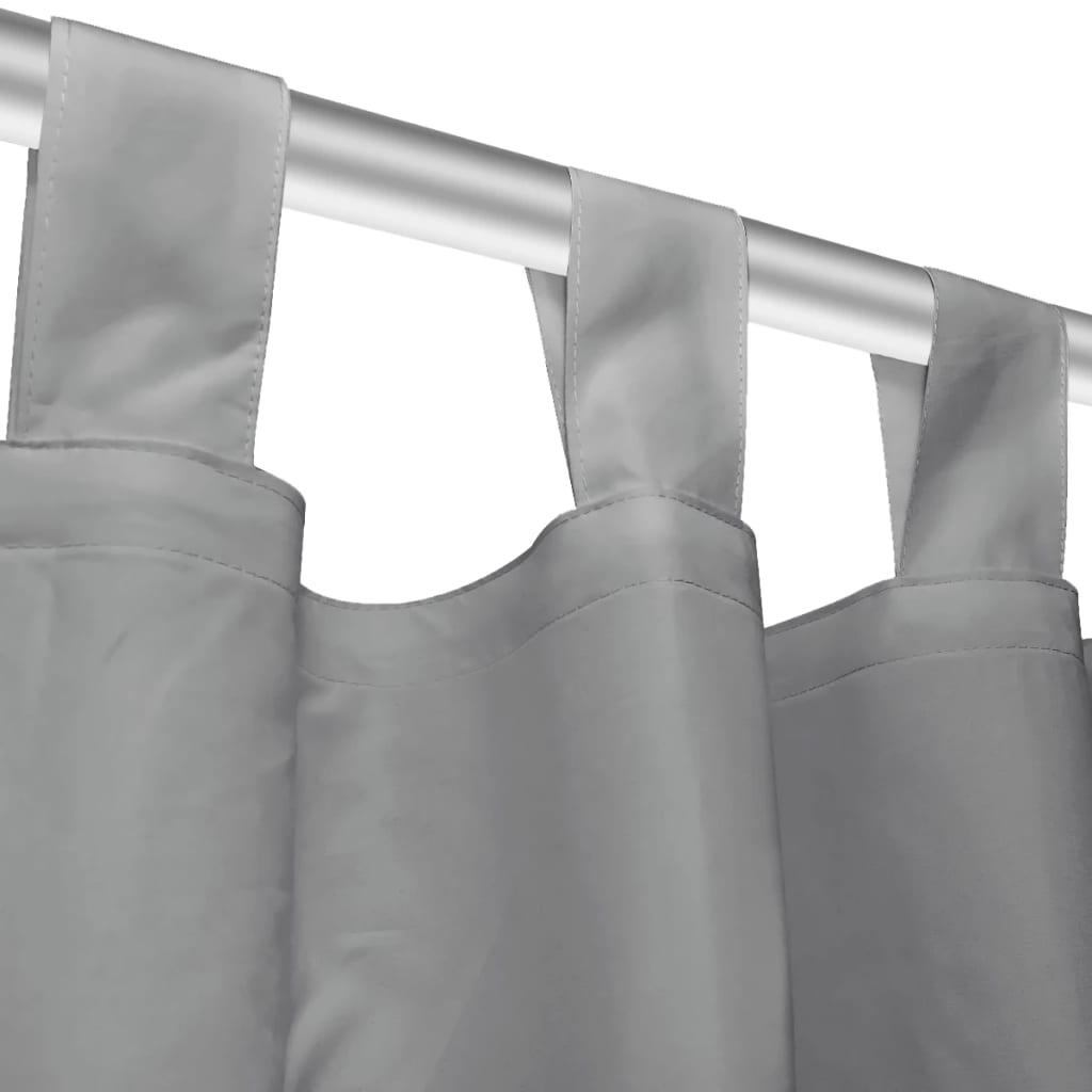 vidaXL-2x-Rideaux-Occultants-avec-Boucles-140x225-cm-Gris-Fenetre-Salon-Bureau