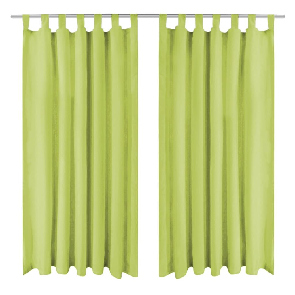 vidaXL 2 db zöld mikro szatén függöny hurkokkal 140 x 175 cm