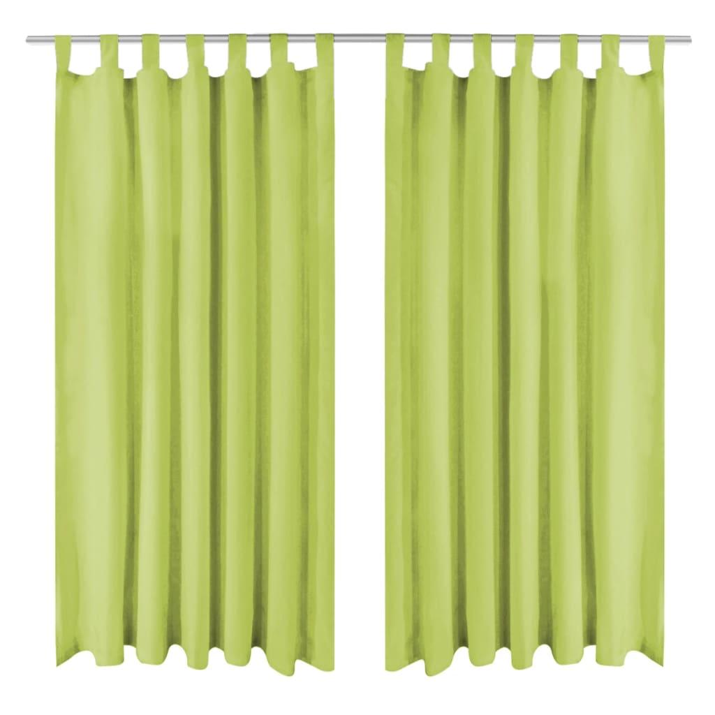 vidaXL 2 db zöld mikro szatén függöny hurkokkal 140 x 245 cm