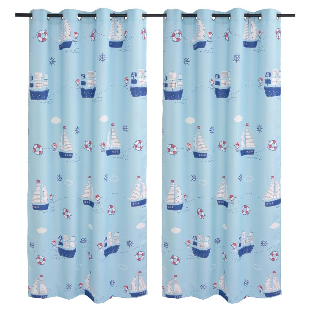 vidaXL 2 db kék mintás gyerek sötétítőfüggöny 140 x 240 cm
