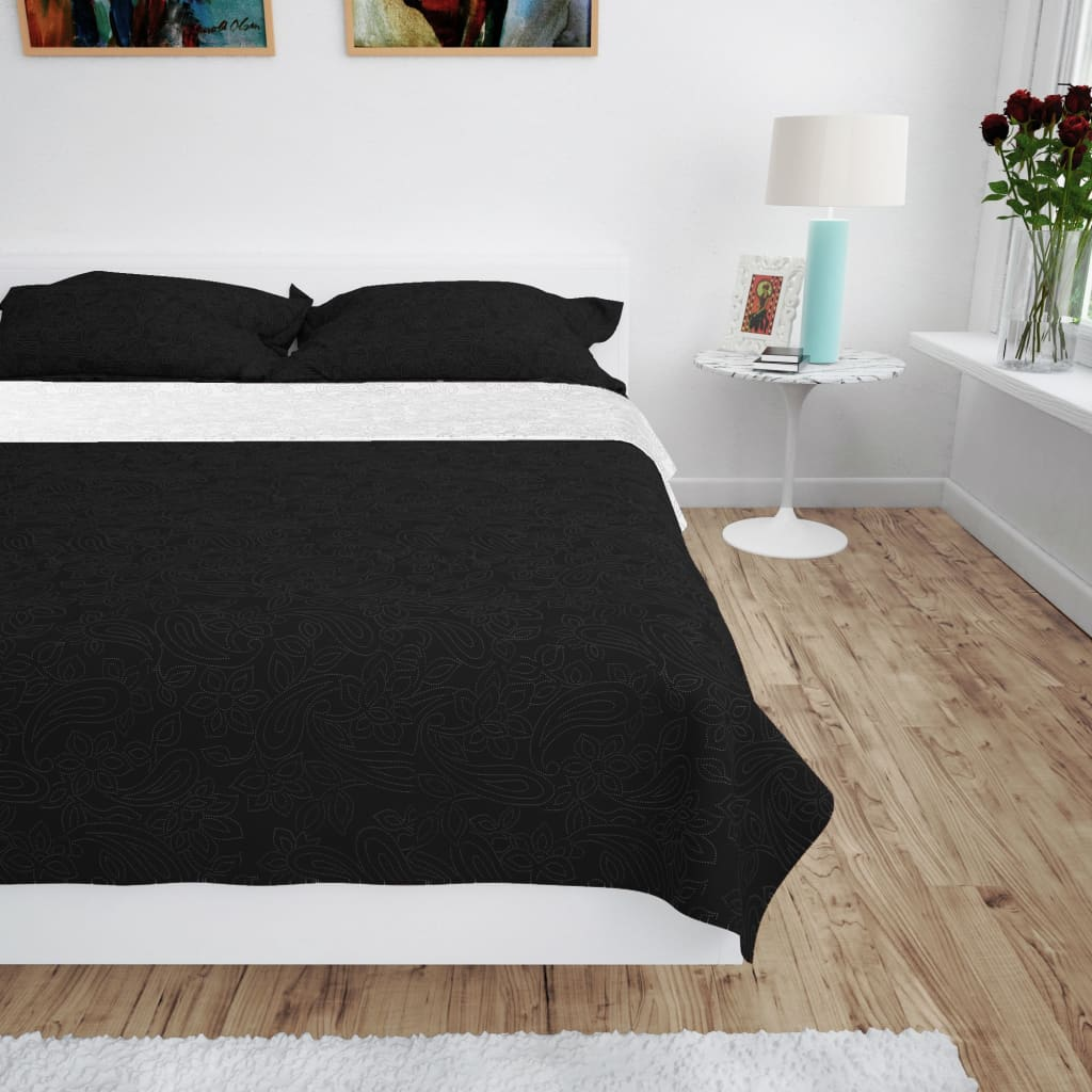 vidaXL fekete/fehér kétoldalas steppelt ágytakaró 170 x 210 cm