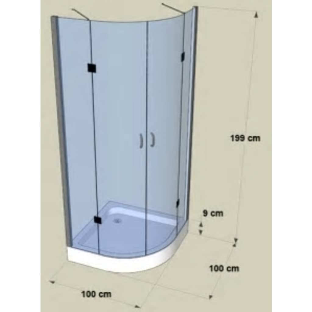 Shower Enclosure Curved Without Frame 100 X 100 Cm