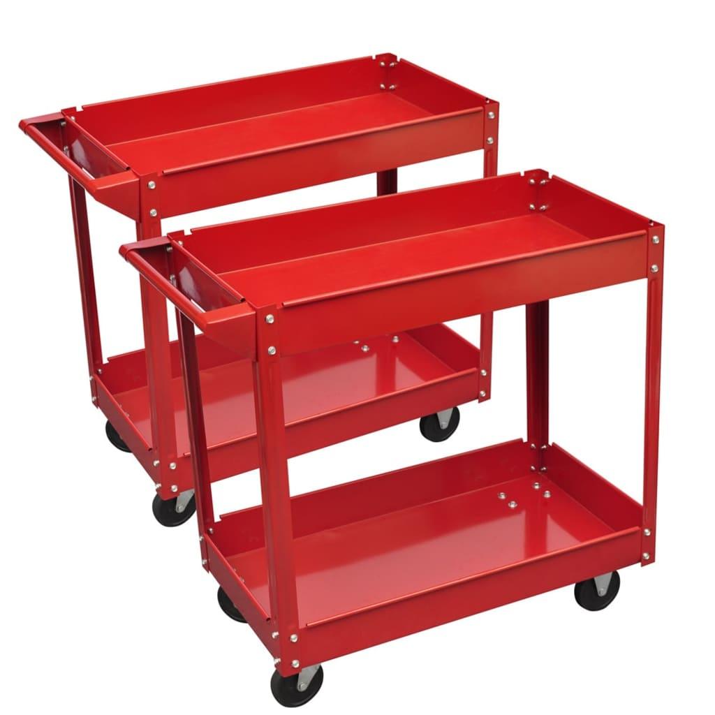 vidaXL Chariot servante d'atelier charge 100 kg rouge (lot de 2) Servante d?outillage robuste avec une charge maximale de 100 kg pour la  garde en d&e