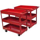 Chariot servante d'atelier charge 100 kg rouge et bac (lot d