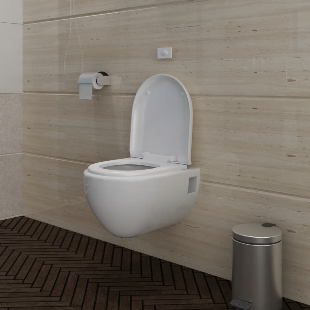 vidaXL Wall Hung Toilet unique design White