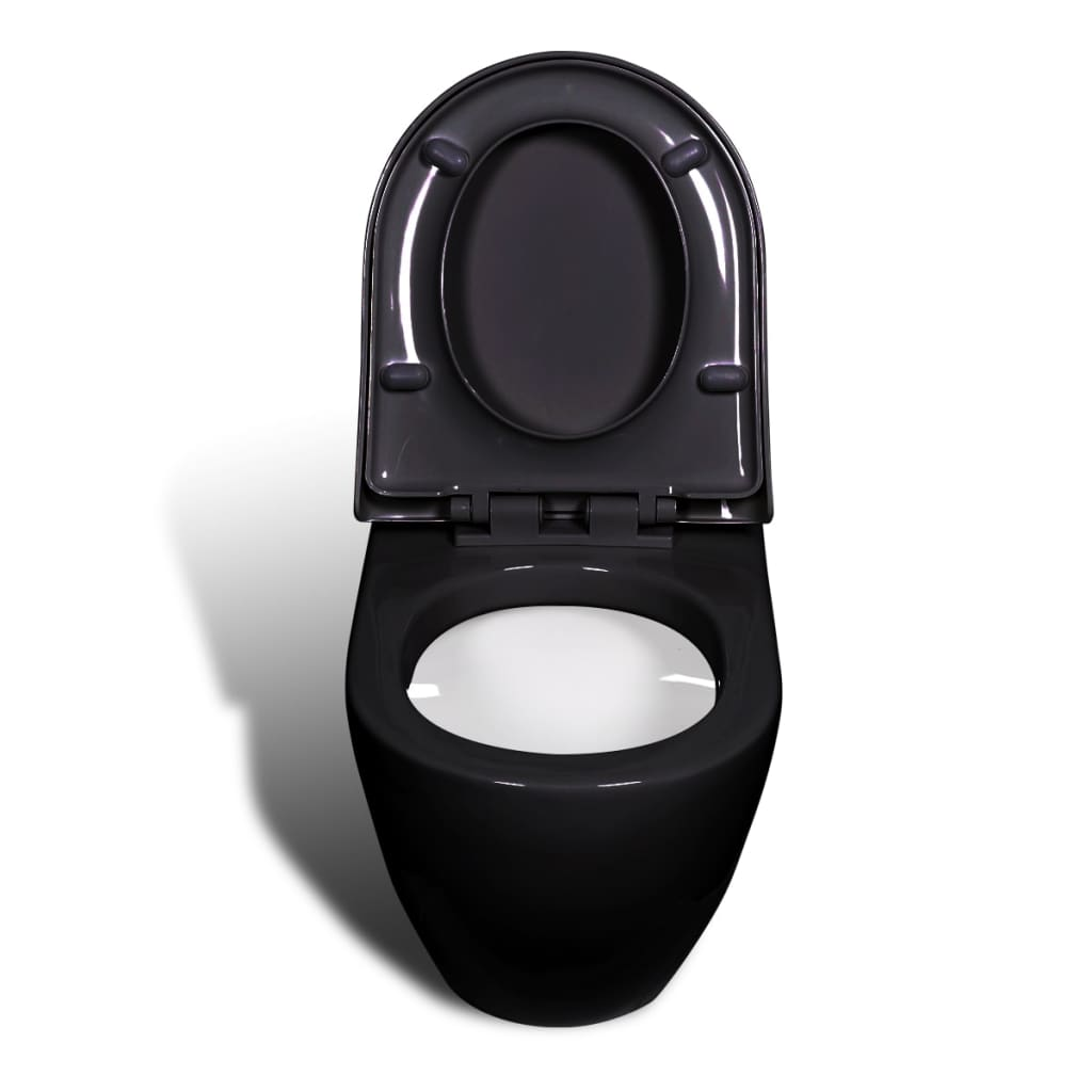 la boutique en ligne cuvette wc suspendue noire avec abattant c ramique. Black Bedroom Furniture Sets. Home Design Ideas