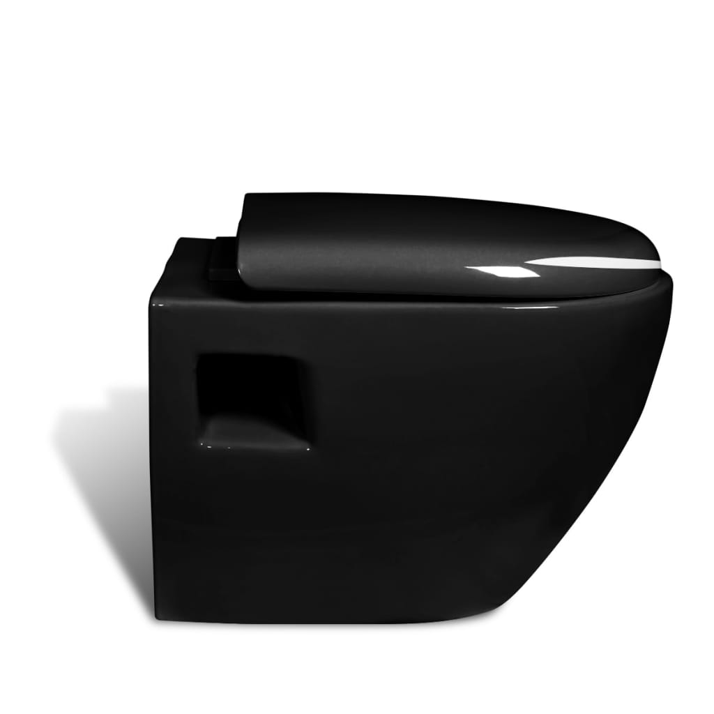 New wall hung unique design toilet black - Deco toilet zwart ...